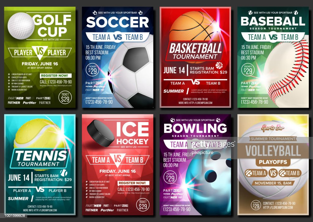 Sport Poster Set Vector. Tennis, Basketball, Soccer, Golf, Baseball, Ice Hockey, Bowling. Event Announcement. Banner Template Advertising. League. Tournament. Vertical Sport Invitation Illustration
