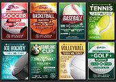 Sport Poster Vector. Soccer, Tennis, Golf, Basketball, Bowling, Baseball, Ice Hockey. Event Design Template. Sport Bar Promo, Bowling Ball. Tournament A4 Championship Flyer Announcement Illustration