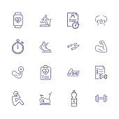 Sport record icons. Set of line icons