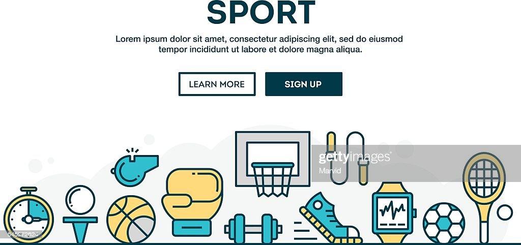 Sport, recreation, active lifestyle, colorful concept header, flat desig