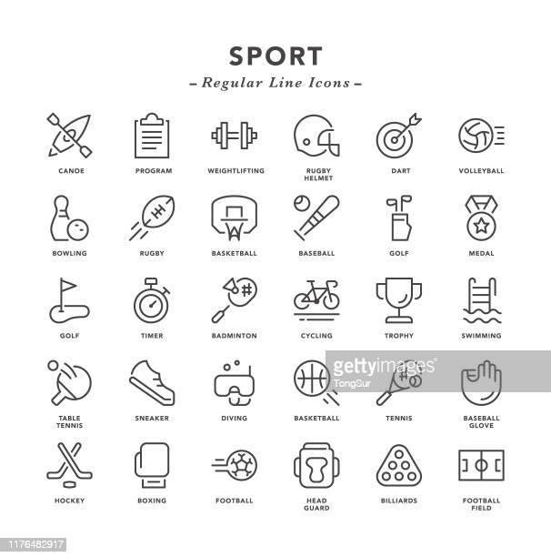 sport - regular line icons - table tennis stock illustrations