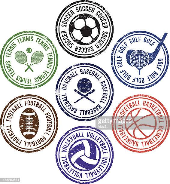 illustrazioni stock, clip art, cartoni animati e icone di tendenza di timbri in gomma sportiva - pallone da pallavolo