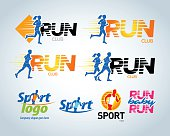 Sport running club vector labels and emblems or badges.