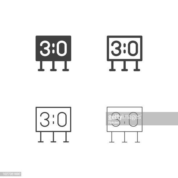 sport scoreboard icons - multi series - scoring stock illustrations