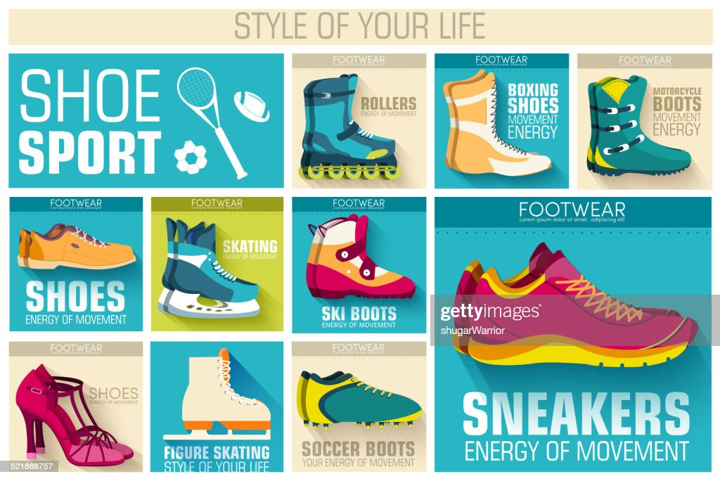 sport shoe equpment backgrounds. Template for web and mobile applications.