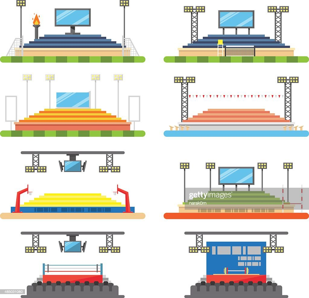 Sport stadium and stage set