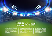 Sport Stadium With Lights And Tribunes Template Infographic Background