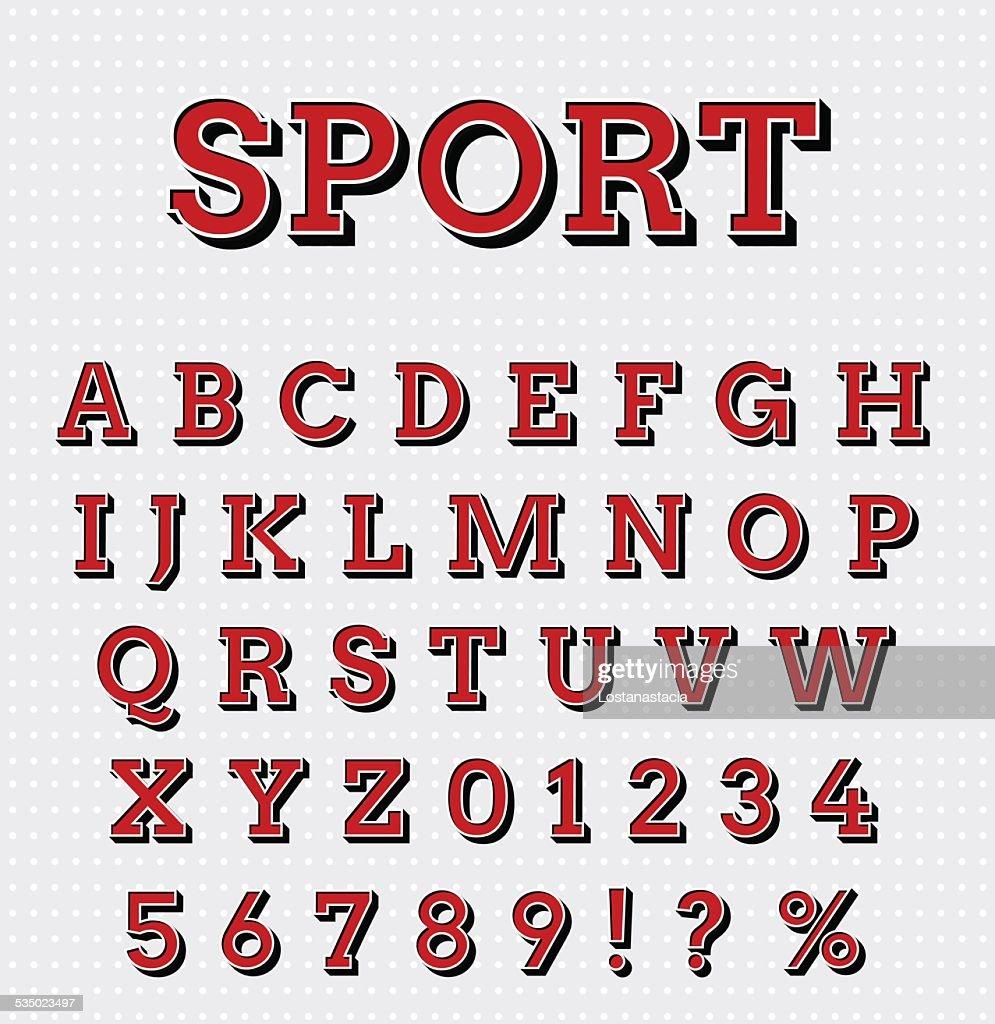 Sport style letters set