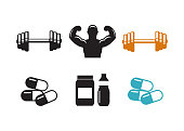 Sport supplements effects icons for fitness diet vector