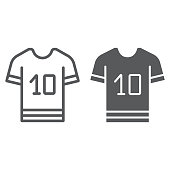 Sport t shirt line and glyph icon, clothes and sport, t shirt sign, vector graphics, a linear pattern on a white background, eps 10.