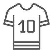 Sport t shirt line icon, clothes and sport, t shirt sign, vector graphics, a linear pattern on a white background, eps 10.