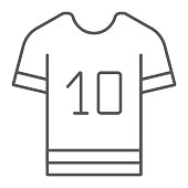 Sport t shirt thin line icon, clothes and sport, t shirt sign, vector graphics, a linear pattern on a white background, eps 10.