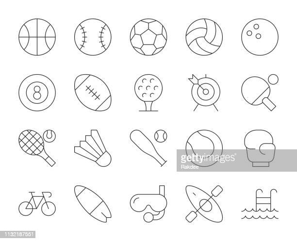 sport - thin line icons - team sport stock illustrations