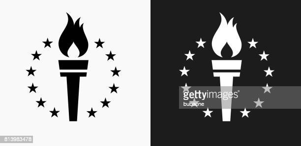 Sport Torch Icon on Black and White Vector Backgrounds