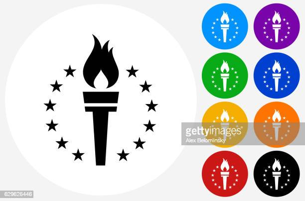 Sport Torch Icon on Flat Color Circle Buttons