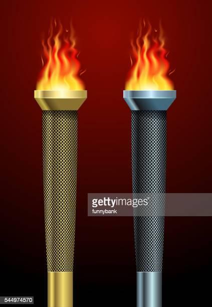 sport torch symbol - sport torch stock illustrations, clip art, cartoons, & icons