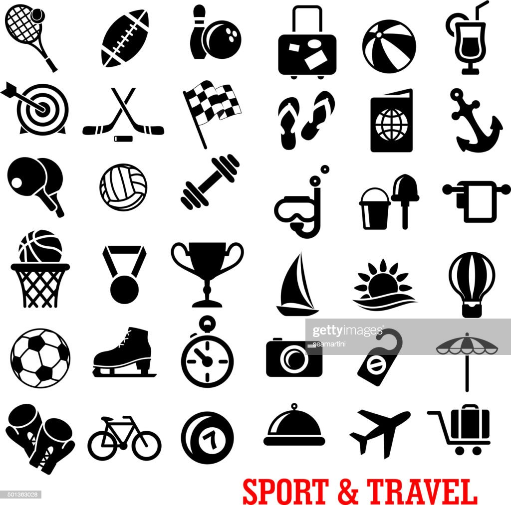 Sport, travel, tourism an recreation icons set