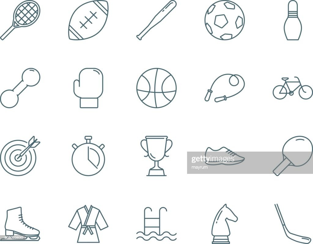 Sport vector icons set linear style