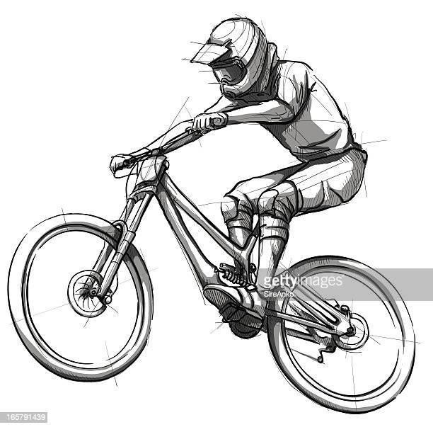 ilustrações de stock, clip art, desenhos animados e ícones de desporto - mountain bike
