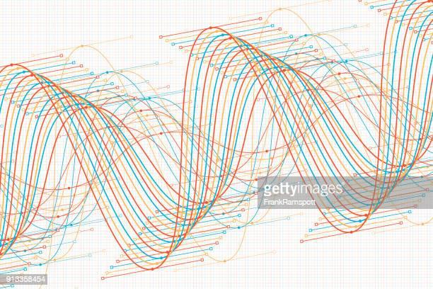 ilustrações, clipart, desenhos animados e ícones de esporte vetor da onda de seno gráfico padrão horizontal - oscilação curvada