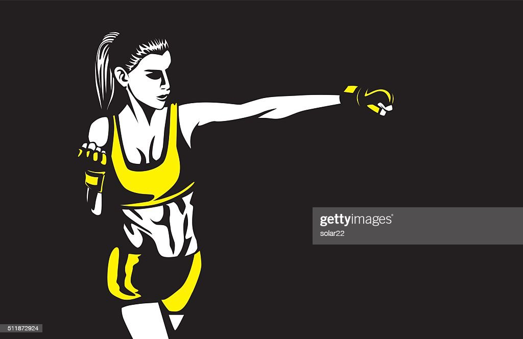Sport woman in sportswear punching
