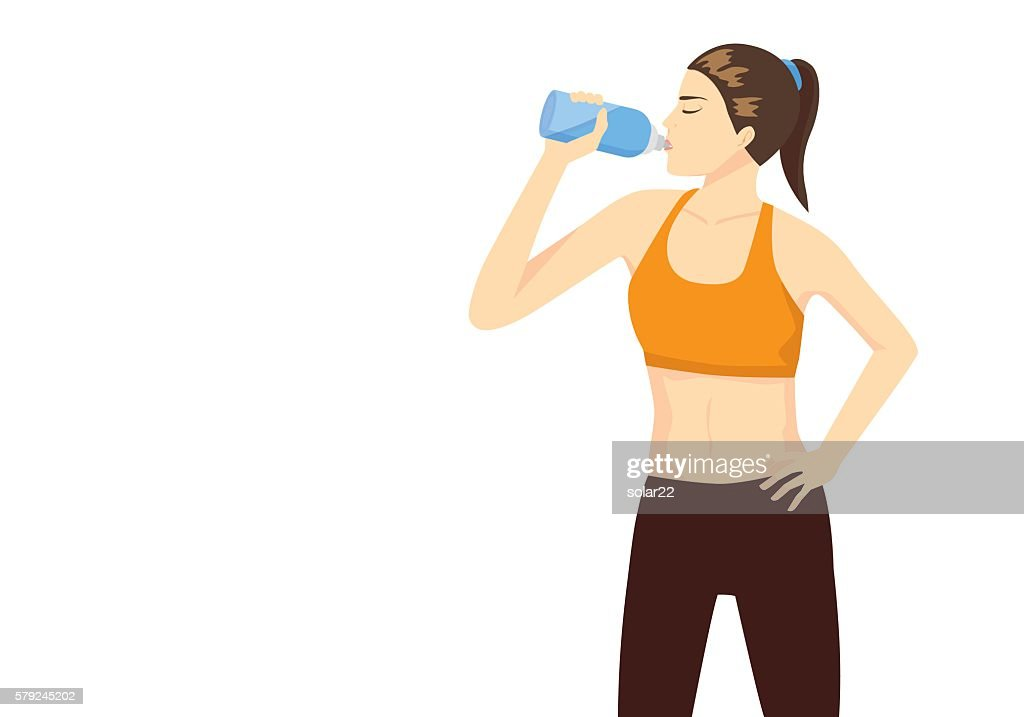 Sport woman lifting bottle and drinking water