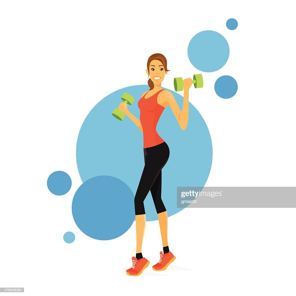 Sport Woman Show Bicep Muscles Fitness Trainer Vector Art Getty Images