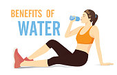 Sport woman sitting on the floor for drinking water from bottle.