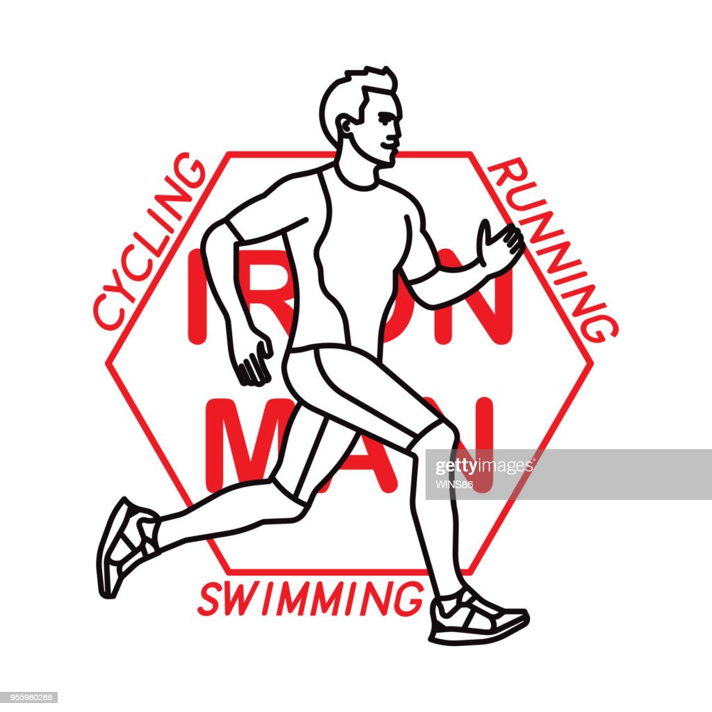 Sporting logotype. Running, Swimming, Cycling. Vector