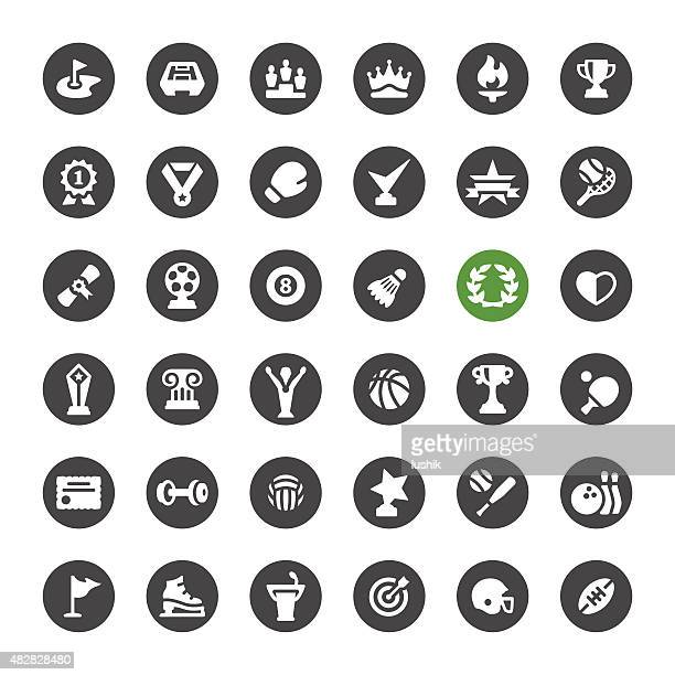 sports achievement vector icons - sport torch stock illustrations, clip art, cartoons, & icons