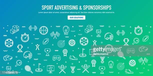 ilustraciones, imágenes clip art, dibujos animados e iconos de stock de publicidad deportiva y patrocinio estilo web banner design - patrocinador