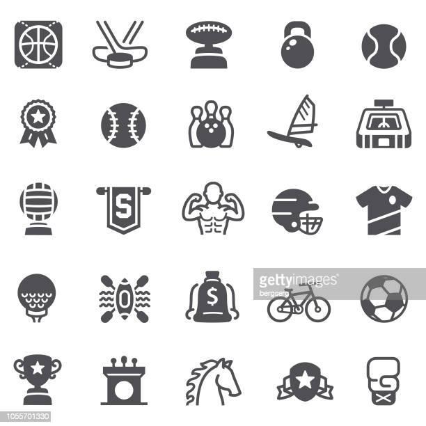 ilustraciones, imágenes clip art, dibujos animados e iconos de stock de deportes y logro los iconos - deporte de equipo