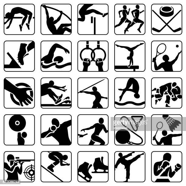 sports and athletics icons set - javelin stock illustrations