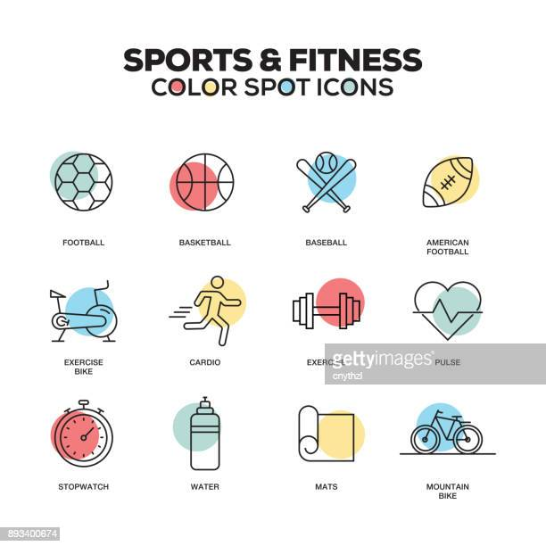 sports and fitness icons. vector line icons set. premium quality. modern outline symbols and pictograms. - fitness stock illustrations, clip art, cartoons, & icons