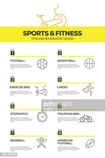 sports and fitness infographic design template - fitness tracker stock illustrations, clip art, cartoons, & icons