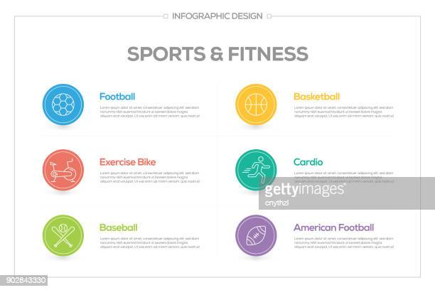 sports and fitness infographic with 6 options, steps or processes. - fitness tracker stock illustrations, clip art, cartoons, & icons