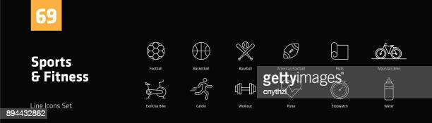 Sports and Fitness Line Icons Set