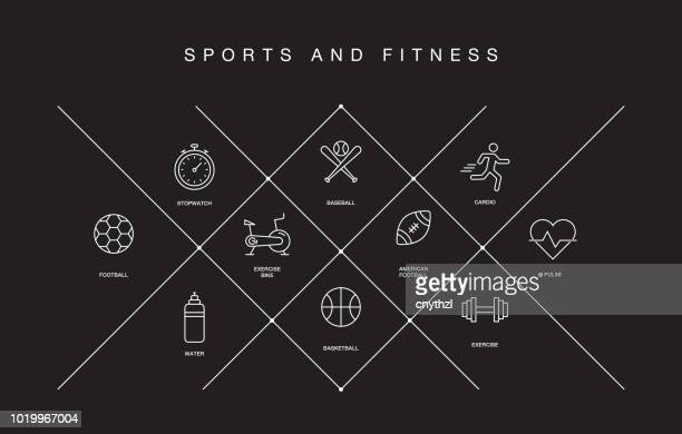 sports and fitness line icons - body building stock illustrations, clip art, cartoons, & icons