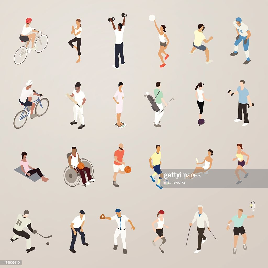 Sports and Fitness People - Flat Icons Illustration : Vector Art