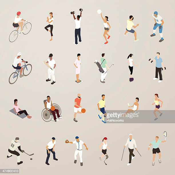 Sports and Fitness People - Flat Icons Illustration