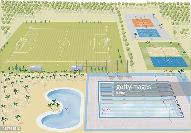 ilustraciones, imágenes clip art, dibujos animados e iconos de stock de centro de deportes y recreación - cancha futbol