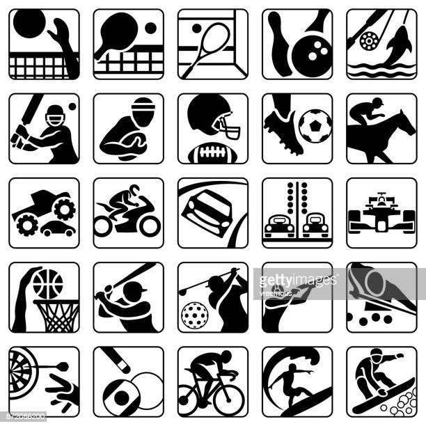 ilustraciones, imágenes clip art, dibujos animados e iconos de stock de deportes y recreación los iconos conjunto - monstertruck