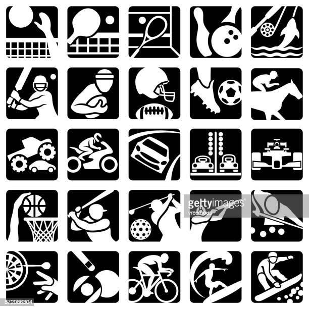 ilustraciones, imágenes clip art, dibujos animados e iconos de stock de iconos de recreación y deportes - monstertruck