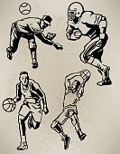 Sports Athletes - Football, Baseball, Basketball, Retro Style
