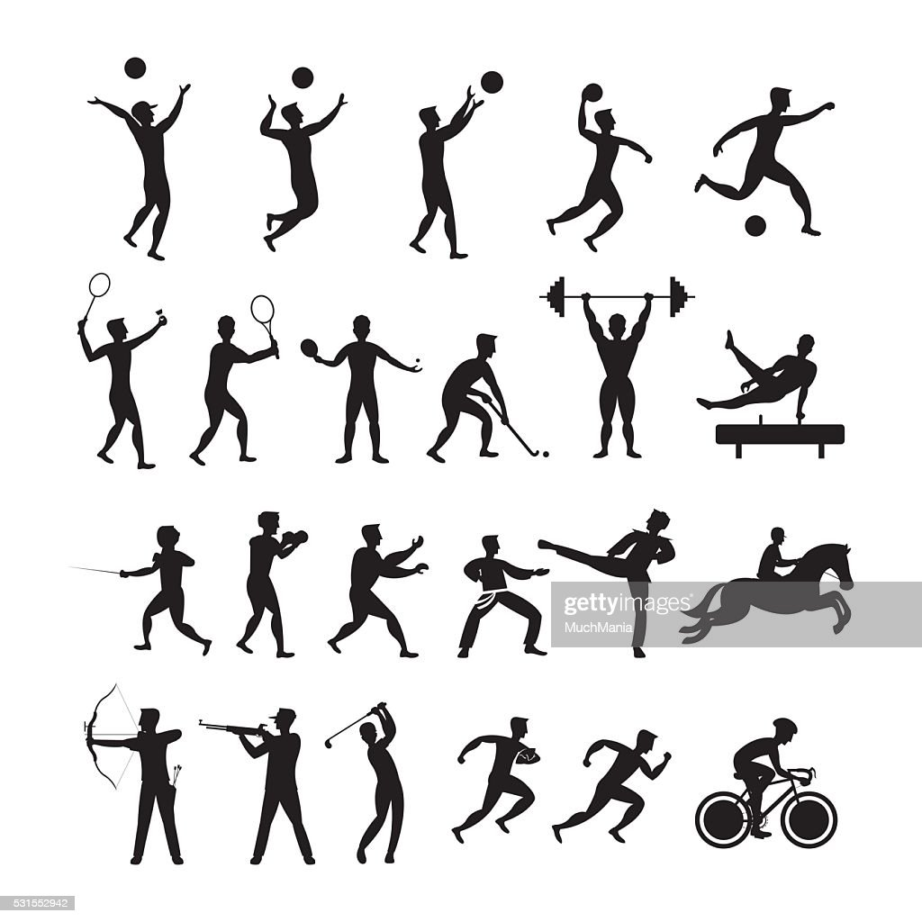 Sports Athletes, Men Symbol Silhouette Set