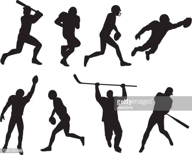 sports athletes silhouettes - safety american football player stock illustrations