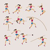 Sports Athletes, Track and Field, Women Set