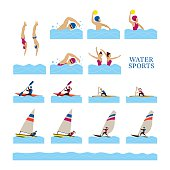 Sports Athletes, Water Sports People Action Set