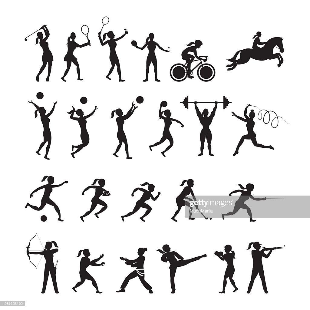 Sports Athletes, Women Symbol Silhouette Set