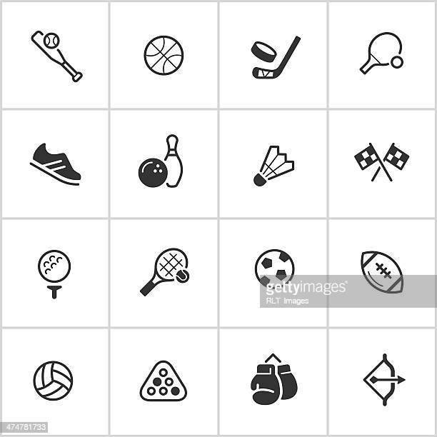 sports & athletics tintenblauen serie symbole — - flach stock-grafiken, -clipart, -cartoons und -symbole
